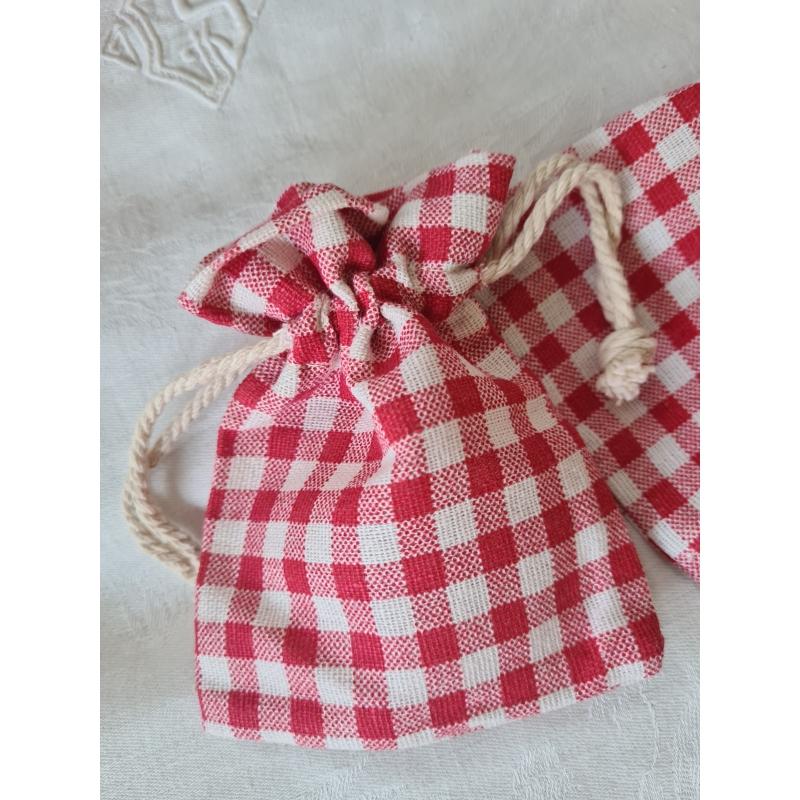 sachet tissu vichy rouge petit format